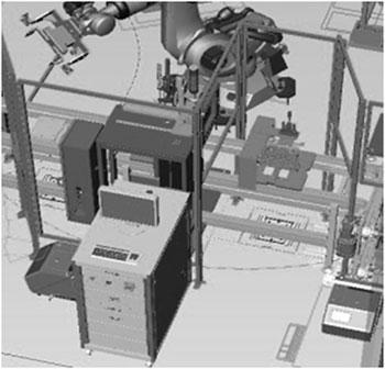 产线与自动化检测设备示意图