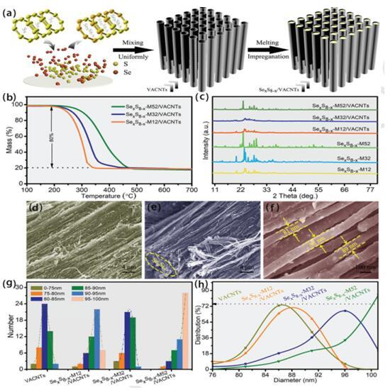 在这次合成中,陈小华教授课题组和骆文彬通过熔融浸渍法将 SexSy 负载到碳纳米管阵列中,形成同轴阵列结构。该结构将把高度有序的定向碳纳米管的高导电性以及对多硫硒化物的物理限制作用与对多硫硒化物的化学限制作用相结合,具有突出的综合优势:(1)高度石墨化的碳纳米管阵列及有序的介孔结构形成了顺畅的电解液、电子传输通道。(2)利用了双重限域作用,活性物质负载于碳纳米管内腔、管壁的分级孔及定向碳纳米管间隙中,物理的限域作用可以有效抑制活性物质的体积变化和溶出,使电极材料保持整体的结构稳定性;(3)碳纳米管中的杂原